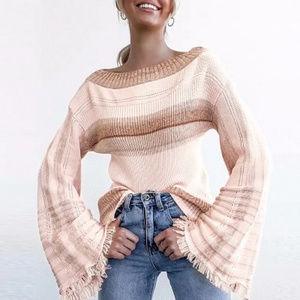 Off Shoulder Knit Sweater w/Flare Fringe Sleeves